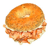 Smoked Salmon And Cream Cheese Bagel Sandwich Royalty Free Stock Photos