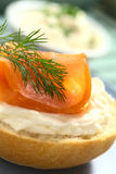 Smoked Salmon and Cream Cheese Canape Stock Photography