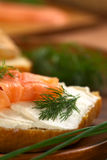 Smoked Salmon and Cream Cheese Canape Royalty Free Stock Image