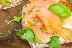Smoked Salmon and Cream Cheese Canape Royalty Free Stock Images