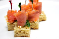 Smoked salmon and cream cheese canape Stock Photos