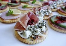 Smoked Salmon and Cream Cheese Canape. Stock Photo