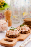 Smoked Salmon, Cream Cheese, Dill and Horseradish Pate on Rye Br Stock Images