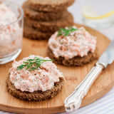 Smoked Salmon, Cream Cheese, Dill and Horseradish Pate on Rye Br Royalty Free Stock Image