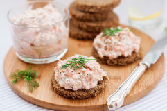 Smoked Salmon, Cream Cheese, Dill and Horseradish Pate on Slices Royalty Free Stock Image