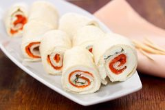 Smoked salmon and cream cheese roll ups Royalty Free Stock Photography