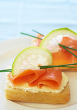 Smoked salmon and cream cheese on white bread Stock Image