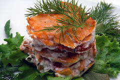 Smoked salmon with creamy cheese close-up Royalty Free Stock Photos