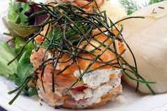 Smoked salmon with creamy cheese decorated with chive close-up. Smoked salmon with creamy cheese decorated with chive on a white plate close-up stock images