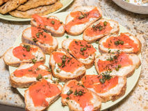 Smoked salmon crostini Stock Photos