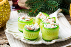 Smoked Salmon Cucumber Rolls. Selective focus royalty free stock photography