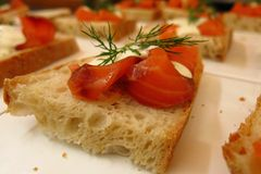 Smoked salmon with dill on bread hors d'oeuvres appetizer. Smoked salmon with dill on bread healthy hors d'oeuvres party appetizers Stock Photography