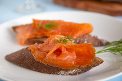 Smoked salmon with dille Royalty Free Stock Photography