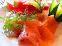 Smoked salmon dish Royalty Free Stock Images