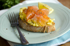 Smoked salmon and eggs Stock Photography