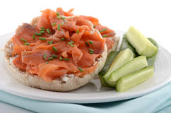 Smoked salmon on english muffin Royalty Free Stock Photos