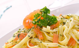 Smoked salmon fettuccine, italian pasta Stock Photo