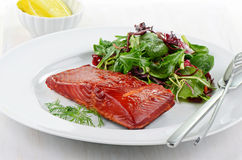 Smoked salmon filet with baby greens salad Royalty Free Stock Image