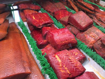 Free Smoked Salmon Fillets In Grandville Market, Grandville Island, Vancouver, British Columbia, Canada Stock Photos - 55124863