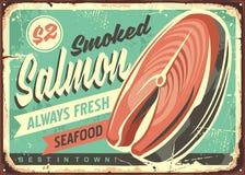 Smoked salmon fish vector tin sign royalty free illustration