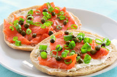 Smoked salmon on flat roll Royalty Free Stock Photography