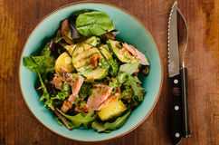 Smoked salmon, fresh greens and grilled vegetables salad Stock Photography