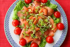 Smoked Salmon with Fresh Salad Stock Photography
