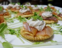 Smoked Salmon Horderves. Royalty Free Stock Photography