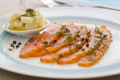 Smoked  salmon and ingredients in plate on table Stock Photos