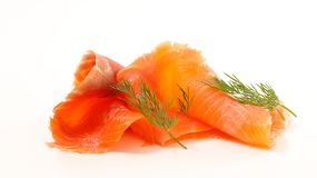 Smoked Salmon Isolated On White Royalty Free Stock Images