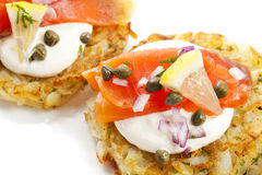 Smoked Salmon Latkes Royalty Free Stock Photo