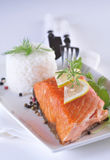 Smoked salmon with lemon Royalty Free Stock Image