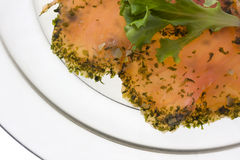 Smoked salmon with lettuce Royalty Free Stock Images