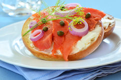 Smoked salmon lox on Asiago cheese bagel. Smoked salmon lox with cream cheese capers and red onion on toasted Asiago cheese bagel Stock Photos