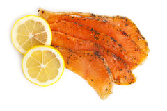 Smoked Salmon with Lemon Royalty Free Stock Photos