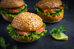 Smoked salmon mini burgers Royalty Free Stock Photo