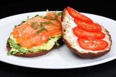 Smoked salmon multi grain sandwich Royalty Free Stock Photos