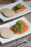 Smoked salmon with oatcakes Stock Photos