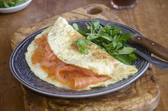 Smoked salmon omelette Stock Photo