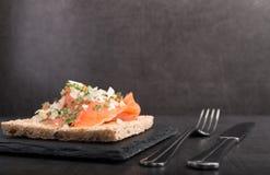 Free Smoked Salmon On Toast Stock Photos - 107730623