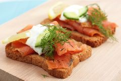 Smoked salmon open sandwich Royalty Free Stock Photos