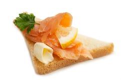 Smoked salmon over toast Stock Photos