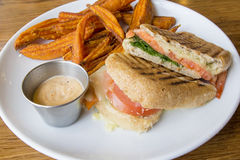 Smoked Salmon Panini and Sweet Potato Fries Stock Photo