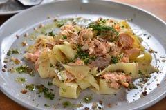 Smoked Salmon Pappardelle. Tasmania style smoked Salmon Pappardelle Royalty Free Stock Image