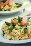 Smoked salmon pasta Royalty Free Stock Photography