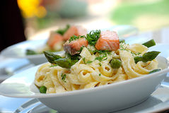 Smoked salmon pasta Royalty Free Stock Photos