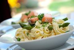Smoked salmon pasta royalty free stock photos