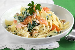 Smoked Salmon Pasta Stock Photography