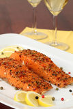 Smoked salmon with pepper crust Royalty Free Stock Photo