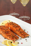 Smoked salmon with pepper crust Royalty Free Stock Image